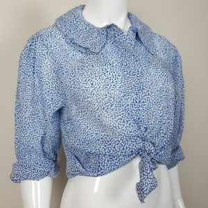 Vintage Blue Floral Button-Up Blouse